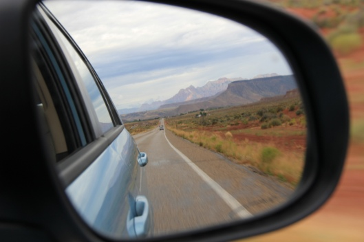 Rear-view mirror of Zion Mountains, by daveynin
