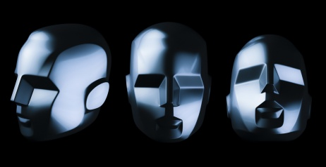 Abstract robot head from different angles on black background. Artificial intelligence. 3D render.